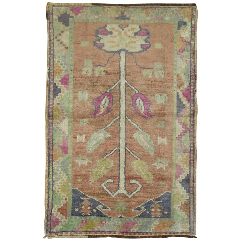 Vintage Turkish Oushak Anatolian Prayer Rug