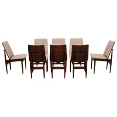 Set of Eight Retro Rosewood and Leather Dining Chairs Vintage