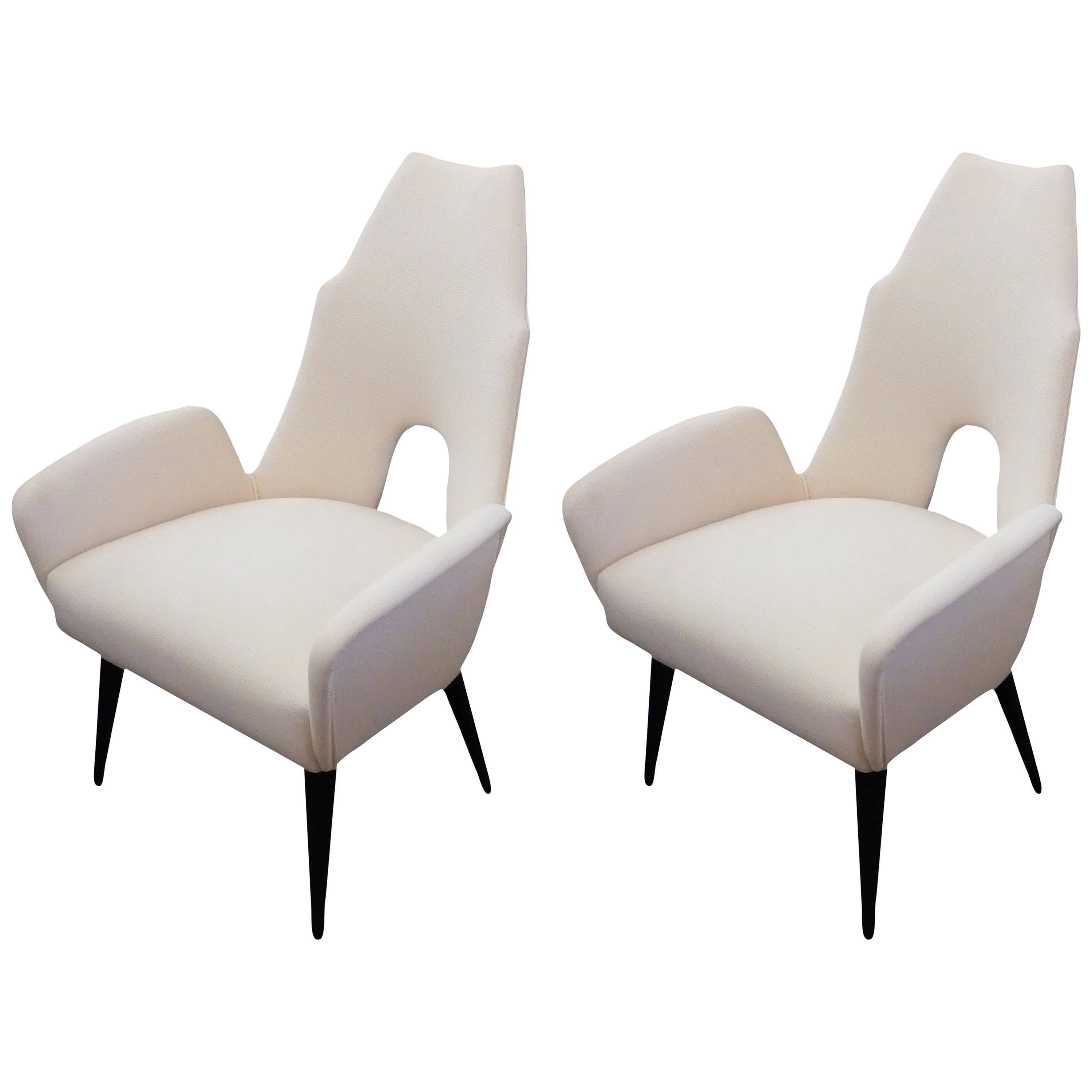 Pair Of Pristine White High Back Chairs In The Manner Of Adrian Pearsall
