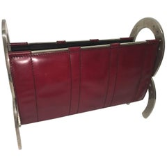 Jacques Adnet Style Horseshoe and Leather Magazine Rack