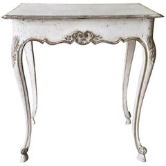 19th Century Louis XV Style Painted Small Table with Drawer