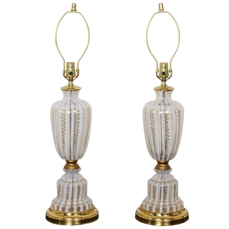 Pair of Vintage Murano Urn Shape White and Clear Glass Lamps with Gold