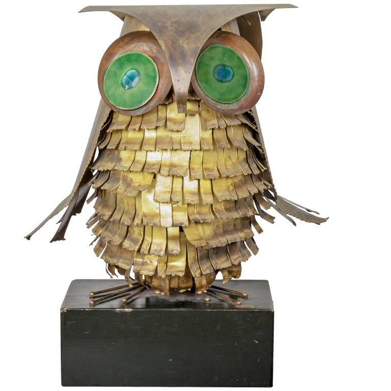 C. Jere Brass and Copper Owl Sculpture