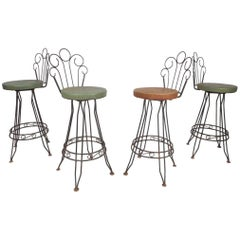 Set of Four Mid-Century Modern Italian Wrought Iron Bar Stools