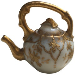 19th Century Elite Limoges France Miniature Hand-Painted Teapot