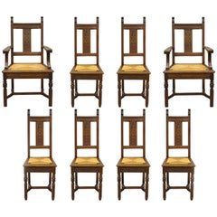 Eight William & Mary Renaissance Revival Style Oak Dining Chairs Rush Seat