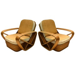 Pair of 5-Reed Bamboo Lounge Chairs, with Ottoman Paul Frankl, circa 1940