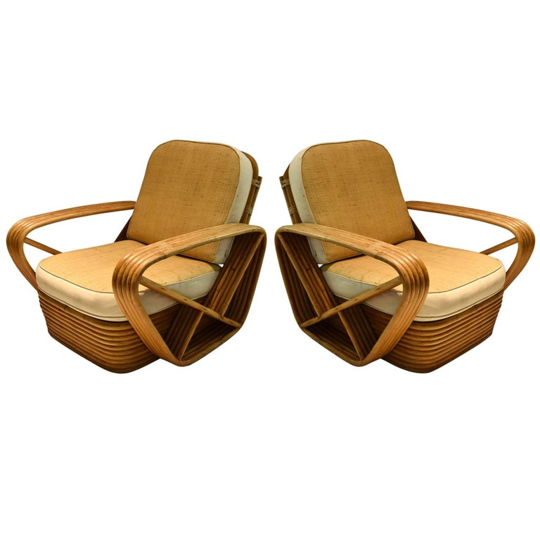Pair of 5-Reed Bamboo Lounge Chairs, Paul Frankl, circa 1940