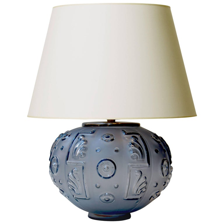 Exquisite Table Lamp in Sapphire Blue Glass by Edvin Ollers for Kosta Boda For Sale