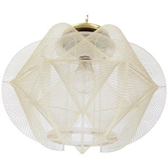 Lucite Fish Line Shade Light Fixture Pendant