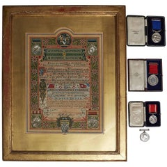 White Star Line SS Adriatic Bravery Certificate and Medals