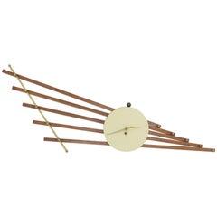 Large French Art Deco Walnut Brass Wall Sculpture Clock