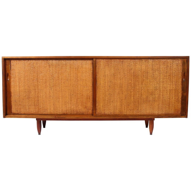 Phillip Lloyd Powell Walnut and Split Reed Credenza, Late 1950s