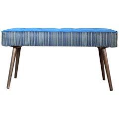 Studio Series Mini-Bench, Navy Pinstripe with Mediterranean Blue Seat