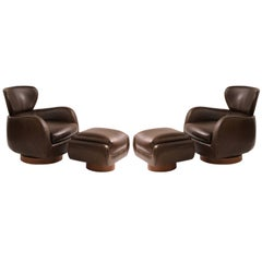 Pair of Vladimir Kagan Directional Leather and Walnut Swivel Chairs