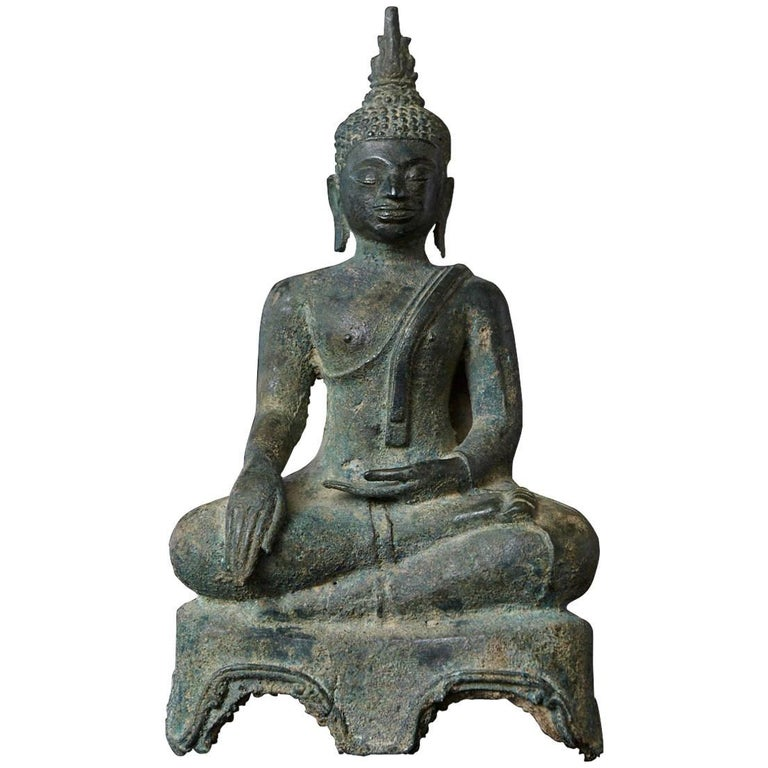 Possibly 15th-16th century devotional bronze Thai Buddha statue, purchased in 1990 at the Helena Rubinstein auction in New York.