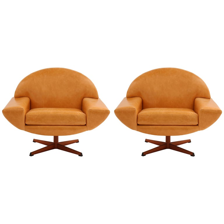 Pair of Johannes Andersen Leather Capri Swivel Lounge Chairs