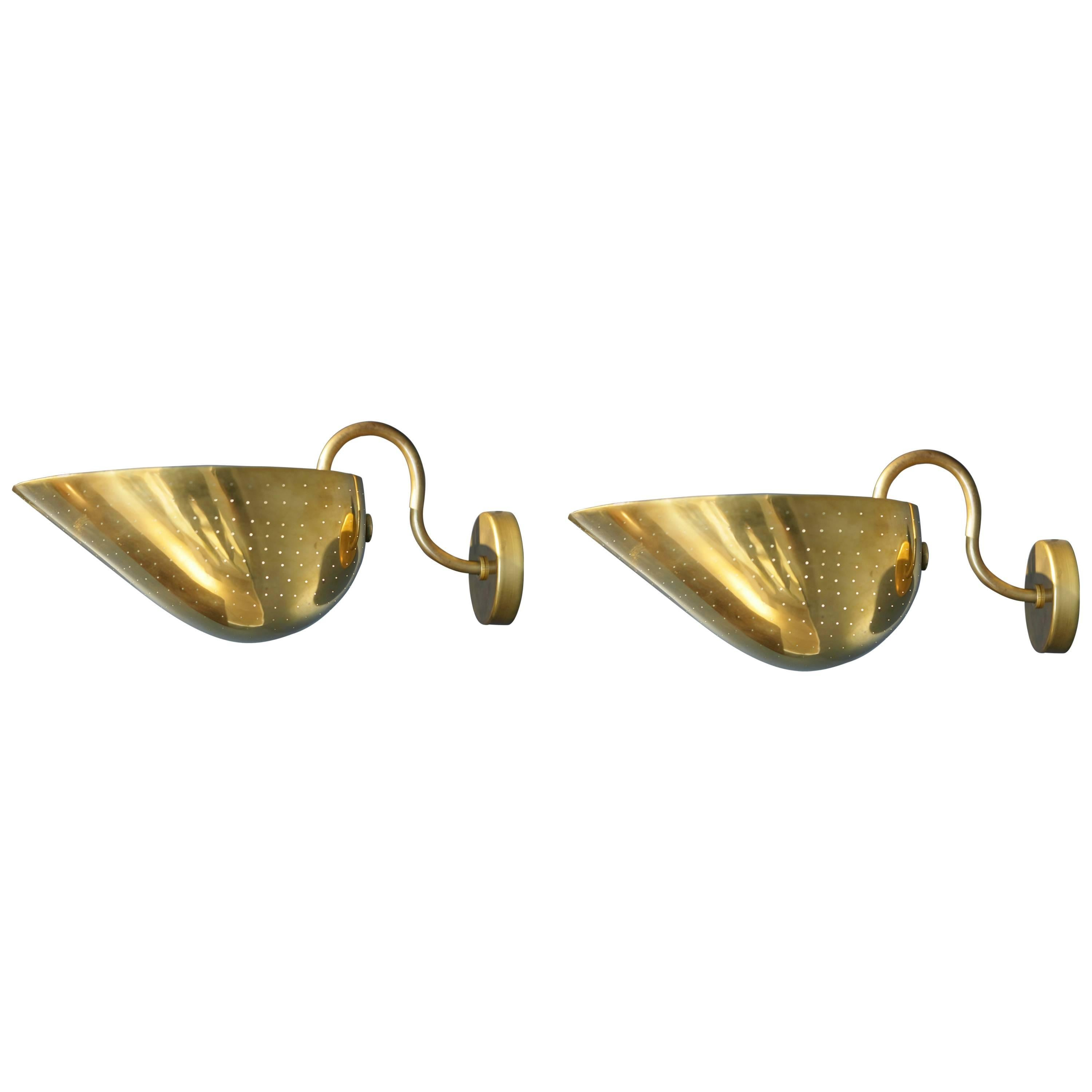 Carl-Axel Acking, Pair of Large Brass Sconces, Sweden, 1940s