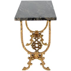 Solid Cast Bronze Black Marble-Top Side Table