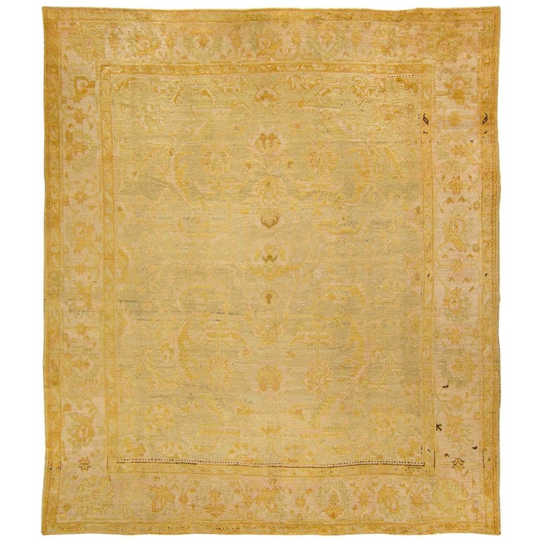 Antique Lustrous Soft Pink Grey Gold Oushak Rug For Sale