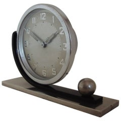 German Art Deco Chrome with Brushed & Blackened Steel Asymmetrical Table Clock