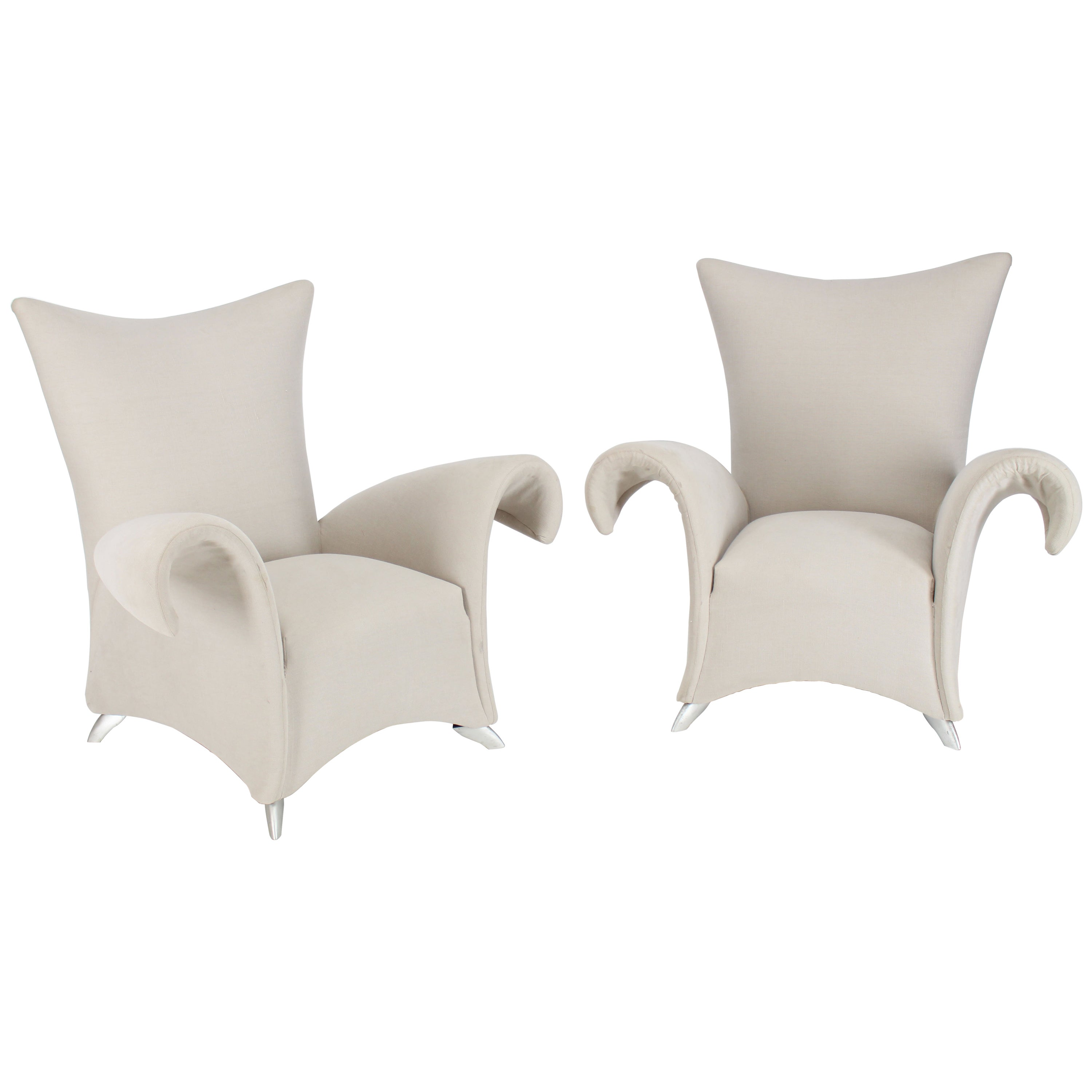 Pair of Large Oversize Lounge Fan Back Barrel Armchairs