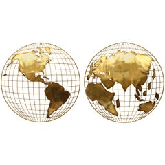 Pair of C. Jere Brass Globe Sphere Wall Sculptures, circa 1984