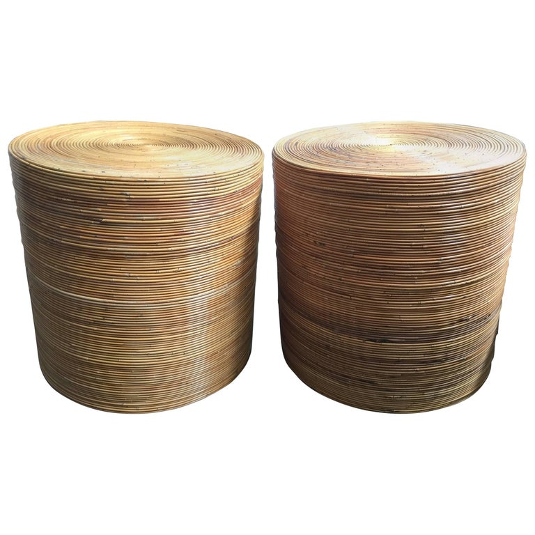 Cylindrical pair of pencil reed bamboo rattan drum tables for Wicker reed