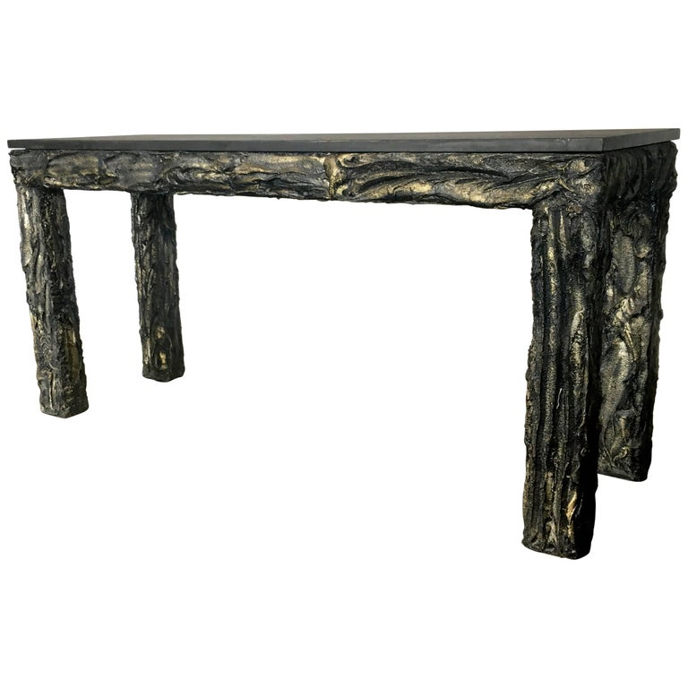 Paul Evans Style Brutalist Console Sofa Table