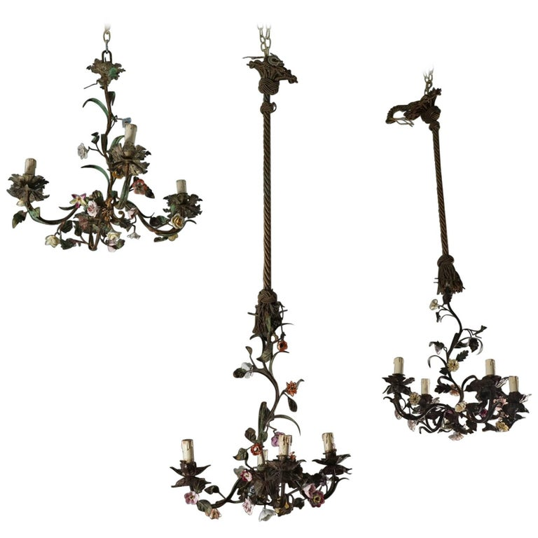 Tole Flower Bouquet Chandeliers 1