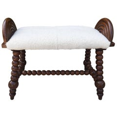 English Bobbin Turned Shearling Upholstered Bench