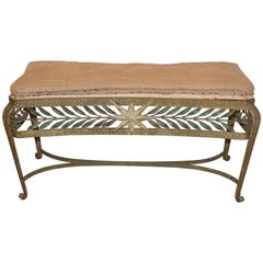 Forged and Gilt Bench, Pierluigi Colli for Cristal Art, Italy, 1950