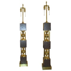 Pair of Monumental Cork and Brass Lamps