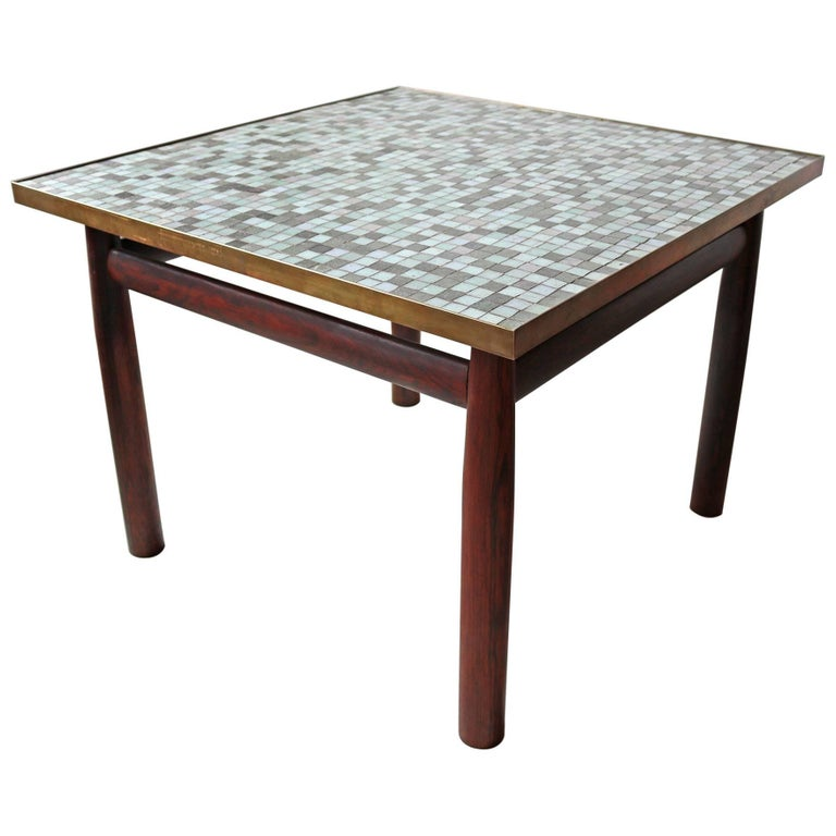 Edward Wormley Rosewood Occasional Table for Dunbar with Murano Glass Tile Top 1