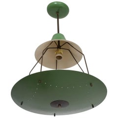 Mid-Century Modern Italian Chandelier Exposed Bulb