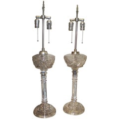 Pair of Handcrafted Glass Oil Lamps on Column Base