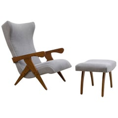 Cuca Armchair and Ottoman Set by Jose Zanine Caldas