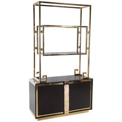 Mid-Century Modern Ebonized Cabinet with Brass Superstructure