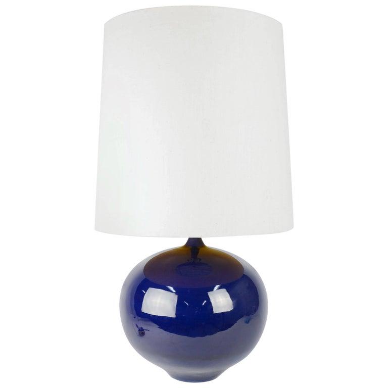 Big Blue Ceramic Table Lamp with Teak Stem
