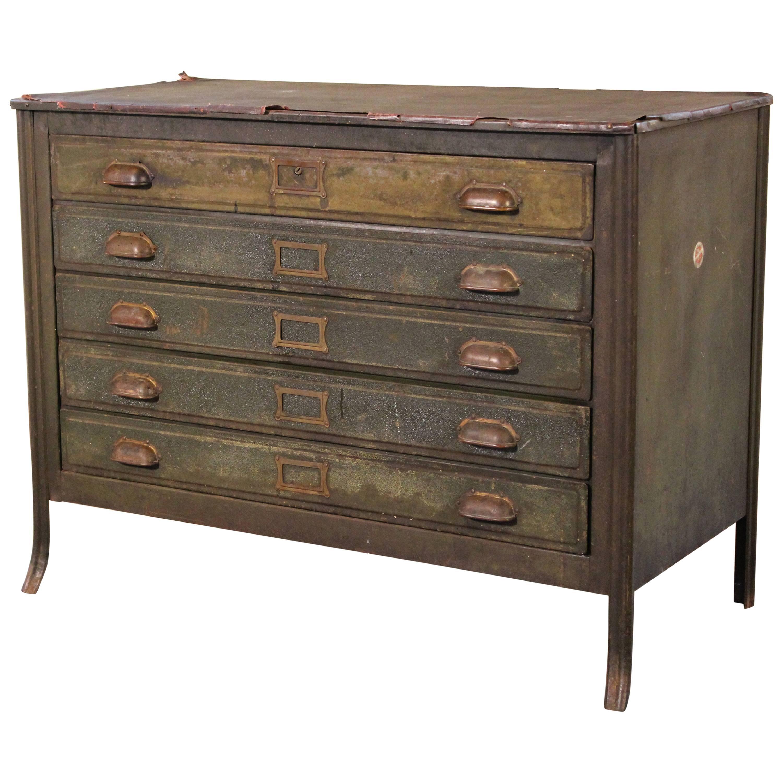 Metal Lateral File Storage Cabinet Vintage Industrial Table Worn ...