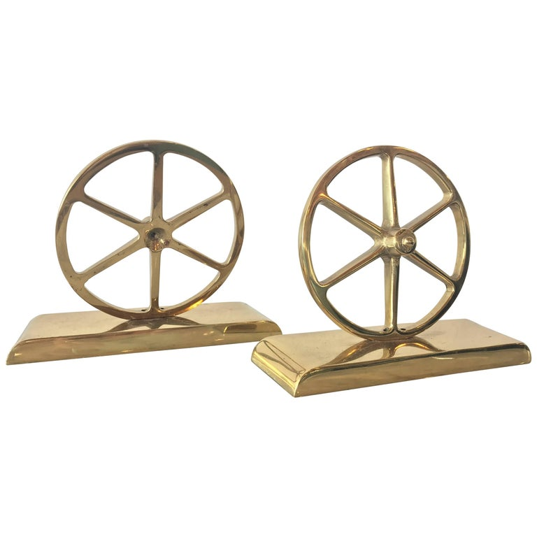 Brass Wagon Wheel Bookends by Virginia Metalcrafters, Pair