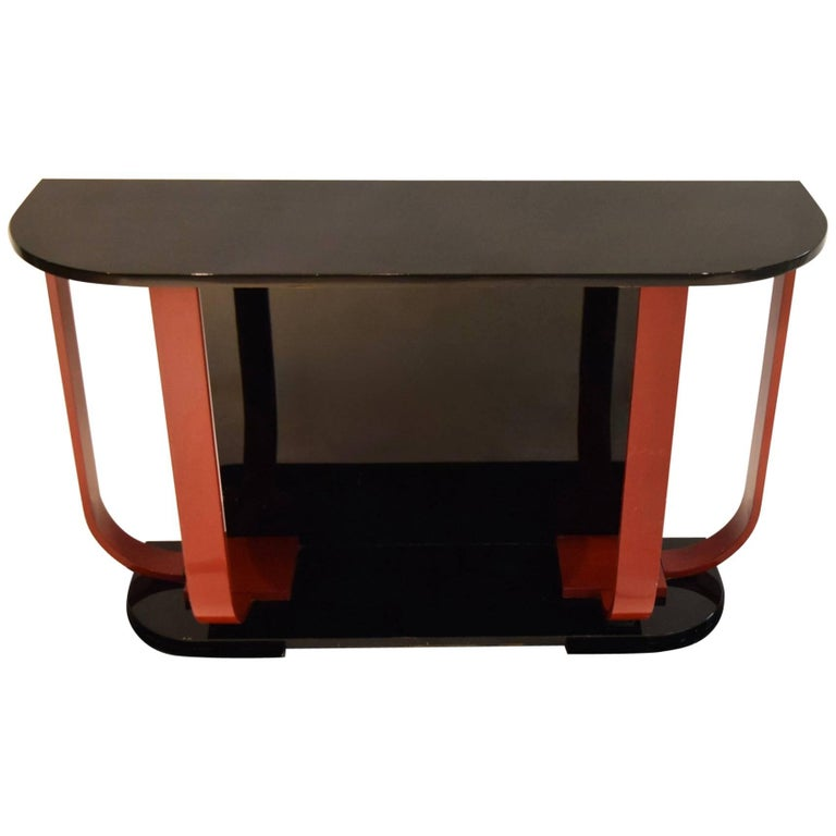 Black and Red Lacquered Console by  Roche Bobois circa 1975 Made in France