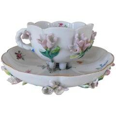 Early 18th Century Antique Augustus Rex Meissen Porcelain Cup & Saucer