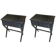 Pair of Cerused End Tables or Nightstands with Central Drawer