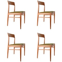 Set of Four Niels Otto Moller Dining Chairs in Teak and Danish Wool Seats