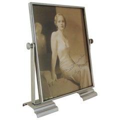 English Art Deco Aluminium and Chrome Adjustable Table Photo Frame