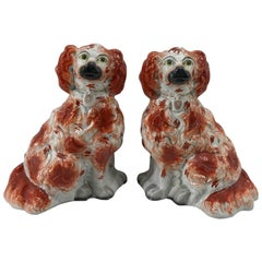 Great Pair of Chunky Staffordshire Seated Spaniels