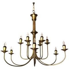Mid-20th Century Modern Twelve-Light Brass Chandelier