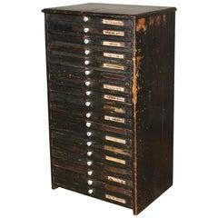 Wooden Flat File Storage Cabinet Vintage Industrial Multi-Drawer Distressed