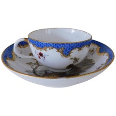 Late 18th Century Meisssen Porcelain Blue Dot Cup and Saucer